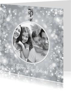Kerstkaarten - Kerstbalkaart zilver - BK