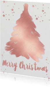 Kerstkaarten - Kerstboom geel roze - BK