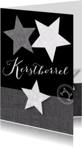 Uitnodigingen - Kerstborrel sterren zwart wit grijs
