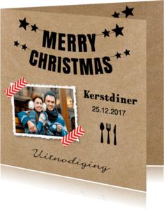 Kerstkaarten - Kerstdiner uitnodiging foto kraft - LB