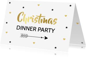 Kerstkaarten - Kerstdiner uitnodiging goud - LB