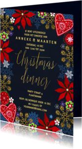 Kerstkaarten - Kerstdiner uitnodiging Goud