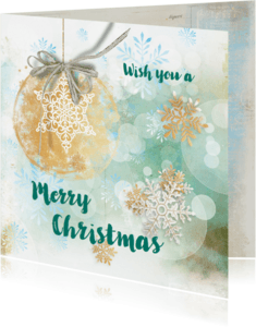Kerstkaarten - Kerstkaart blauw groen stempel - SG