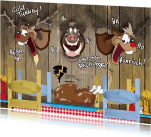 Kerstkaarten - Kerstkaart cartoon diner RB