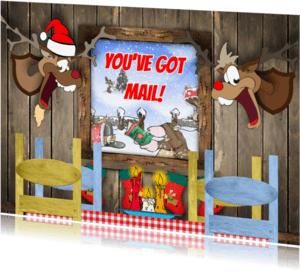 Kerstkaarten - Kerstkaart cartoon mail RB