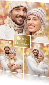 Kerstkaarten - Kerstkaart collage foto goud - OT