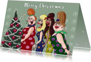 Kerstkaarten - Kerstkaart de dames van het kerstkoortje