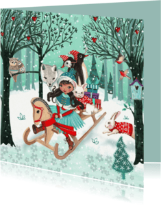 Kerstkaarten - Kerstkaart Dieren Bos