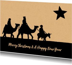 Kerstkaarten - kerstkaart drie wijzen ster
