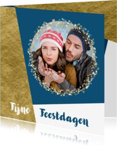 Kerstkaarten - Kerstkaart foto confetti met aanpasbare achtergrondkleur OT