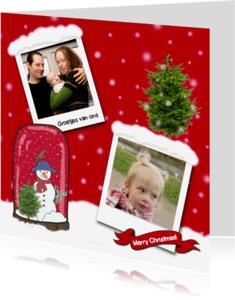 Kerstkaarten - Kerstkaart fotos sneeuw rood-HR