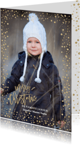 Kerstkaarten - Kerstkaart Goud Confetti glitter