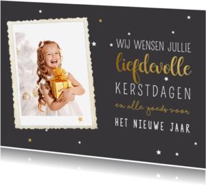 Kerstkaarten - Kerstkaart goud met foto