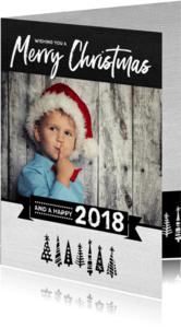 Kerstkaarten - Kerstkaart happy 2018 bomen