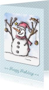 Kerstkaarten - Kerstkaart happy holidays sneeuwman