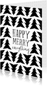 Kerstkaarten - Kerstkaart Happy Merry Everything zwart wit