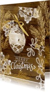 Kerstkaarten - Kerstkaart hout goud - SG