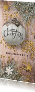 Kerstkaarten - Kerstkaart hout print en kerstbal - lo