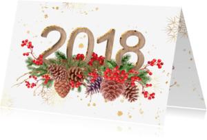 Kerstkaarten - Kerstkaart hulst en dennenappels met 2018 in hout