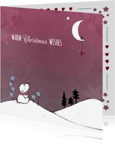 Kerstkaarten - Kerstkaart ijsbeer en maan - IH