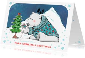 Kerstkaarten - Kerstkaart ijsbeer en muis - IH