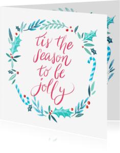 Kerstkaarten - Kerstkaart jolly handlettering