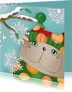Kerstkaarten - Kerstkaart kat sneeuwsterren - sk