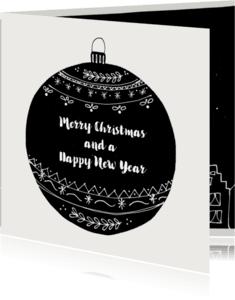 Kerstkaarten - Kerstkaart kerstbal zwartwit