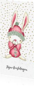 Kerstkaarten - Kerstkaart konijn en sneeuwman in de sneeuw