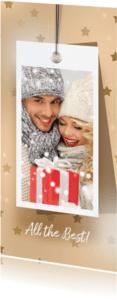Kerstkaarten - Kerstkaart label sterren en foto