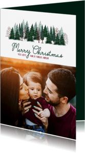 Kerstkaarten - Kerstkaart Merry Christmas bomen