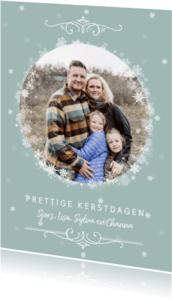 Kerstkaarten - Kerstkaart met foto in winters sneeuwsterren kader