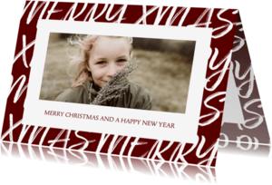 Kerstkaart met handgeschreven tekst en foto