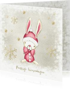 Kerstkaarten - Kerstkaart met konijn in de sneeuw