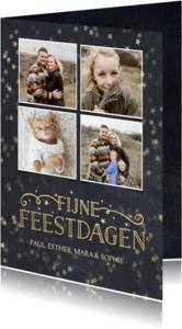Kerstkaart met krijtbord achtergrond, sterren en 4 foto's