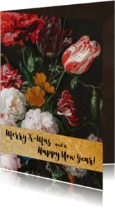 Kerstkaarten - Kerstkaart met vintage bloemenbos en gouden band