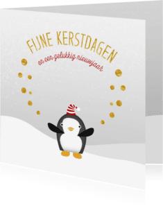 Kerstkaarten - Kerstkaart Pinguin Kerstmuts