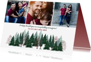 Kerstkaarten - Kerstkaart prettige kerstdagen bomen