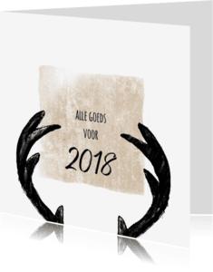 Kerstkaarten - Kerstkaart rendier gewei 2018-IP