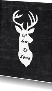 Kerstkaarten -  kerstkaart rendier zwart wit