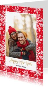 Nieuwjaarskaarten - Kerstkaart rood & sneeuwvlokken