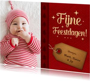 Kerstkaarten - Kerstkaart rood fotokaart label