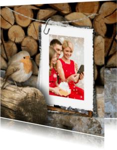 Kerstkaarten - Kerstkaart roodborstje en foto