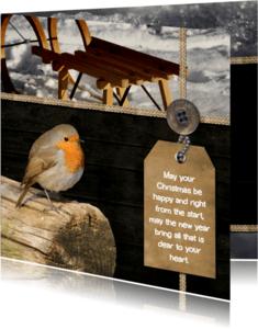 Kerstkaarten - Kerstkaart roodborstje en label