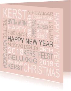 Kerstkaarten - Kerstkaart roze tekst - BC