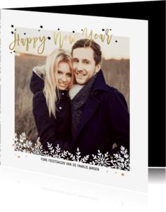 Nieuwjaarskaarten - Kerstkaart Sneeuw & Goud