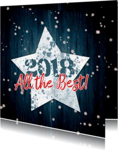 Nieuwjaarskaarten - Kerstkaart ster en hout 2018