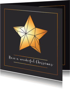 Kerstkaarten - Kerstkaart ster in origami stijl