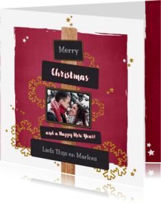Kerstkaarten - Kerstkaart stijlvol en hip foto rood krijtbord