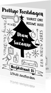 Kerstkaarten - Kerstkaart verhuiskaart zwart-wit handlettering